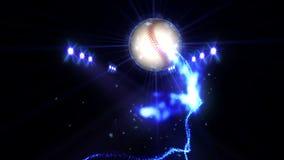Base-ball dans le domaine sous l'éclairage de couleur Concept d'équipe de sports stade ground Champ Projecteurs la nuit illustration stock