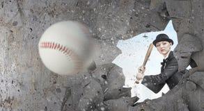 Base-ball de jeu de femme Media mélangé photo libre de droits