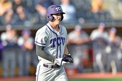 2015 base-ball de NCAA - WVU-TCU Images libres de droits