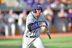 2015 base-ball de NCAA - WVU-TCU Image stock