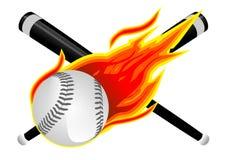 Base-ball en flammes Images libres de droits