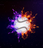 Base-ball en flammes Photos libres de droits