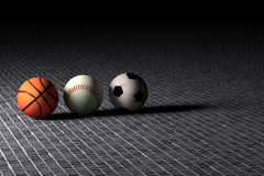 Base-ball et ballons de football de basket-ball Illustration Stock