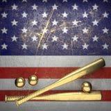 Base-ball et fond de mur des Etats-Unis Photos stock