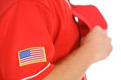 Base-ball : Foyer sur la correction de drapeau des Etats-Unis Photographie stock