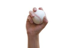 Base ball on hand. On white background stock illustration