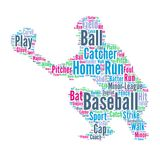 Base-ball - illustration de nuage de Word avec le joueur de baseball Photo libre de droits