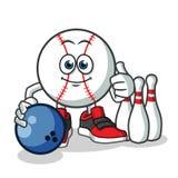 Base-ball jouant l'illustration de bande dessinée de vecteur de mascotte de bowling illustration de vecteur