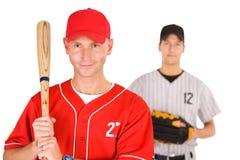 Base-ball : Joueur des équipes de opposition Image libre de droits