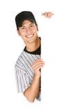 Base-ball : Joueur gai derrière la carte blanche Photos libres de droits