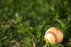Base-ball sur l'herbe photographie stock