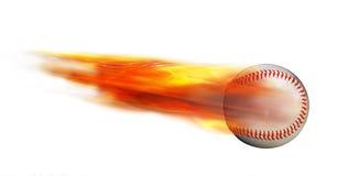 Base-ball sur le feu photographie stock