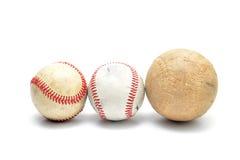Base-ball utilisé par bien d'isolement Photographie stock