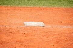 Base in baseball field. Close up of base on baseball field on the stadium Stock Images