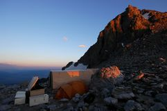 Base camp. Camp at the lower saddle 11370' on the Grand Teton Wyoming Royalty Free Stock Images