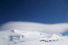 Base camp. Climbers camp - Mt. Blanc Royalty Free Stock Photos