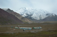 Base camp. Onion meadow, Lenin peak north base camp with 19th party congress peak on background, Pamirs, Kyrgyzstan Stock Images