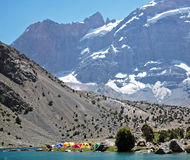 Base camp. Camping near the mountain wall Royalty Free Stock Photography