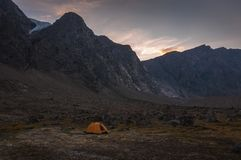 Base camp in Auyuittuq National Park scenery, Nunavut, Canada. Looking at Base camping in Auyuittuq National Park, 3 Royalty Free Stock Images