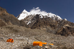 Base Camp of High Altitude Expedition. Many Orange Tents Located on Side Rock Moraine of Glacier in Severe Snow and Ice Peaks Landscape Stock Image
