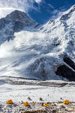 Base Camp of High Altitude Mountain Expedition. Many Orange Tents Located on Side Rock Moraine of Glacier in Severe Snow and Ice Peaks Landscape Royalty Free Stock Image