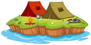 Base camp on an island Royalty Free Stock Photos