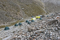 Base camp in the mountains Royalty Free Stock Image