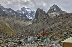 Base camp in the mountains Stock Photography