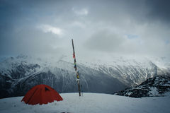 Base Camp. On snow mountain in Sichuan China Stock Photos