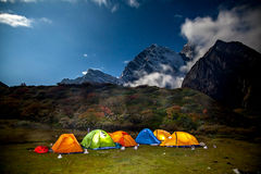 Base Camp under Mt MaKaLu in Tibet at night Royalty Free Stock Images
