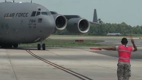 BASE CHARLSTON, MAY 2015, US Air Force C17 stock video footage
