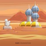 Base científica del ejemplo plano en Marte superficial stock de ilustración