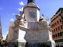 Base of Colonna della immacolata. Statues from the Bible, Patriarch Moses and King David stock photo