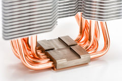 The base of the CPU cooler and the heat pipes Royalty Free Stock Image