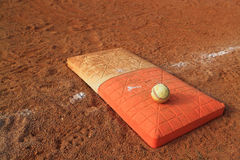 Base d'orange de double de boule de base-ball Image stock
