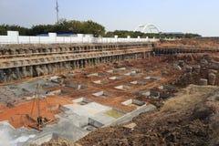 Base de configuration de chantier de construction Images stock