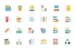 Base de dados e ícones coloridos servidor 2 do vetor Imagens de Stock Royalty Free