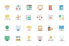 Base de dados e ícones coloridos servidor 3 do vetor Fotografia de Stock Royalty Free