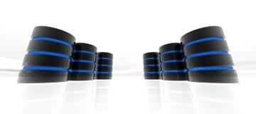 Base de datos azul en perspectiva Imagen de archivo libre de regalías