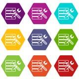 Base de datos con el hexahedron determinado del color del icono del screwdriverl y de la llave inglesa Imagen de archivo libre de regalías