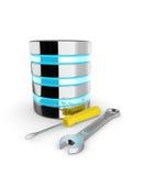 base de datos 3d con la llave y el destornillador aislados en blanco Fotografía de archivo