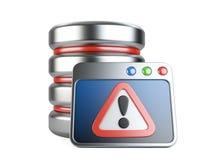 Base de datos del error con la marca de exclamación Fotos de archivo