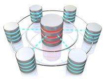 Base de datos y concepto del establecimiento de una red: iconos conectados del disco duro del metal Fotos de archivo libres de regalías