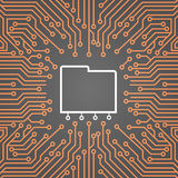 Base de données au-dessus de bannière de concept de système de Chip Moterboard Background Data Center d'ordinateur illustration libre de droits