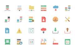 Base de données et icônes 1 de vecteur colorées par serveur Image libre de droits