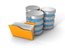 Base de données informatique avec le dossier jaune de document de bureau Photographie stock libre de droits
