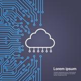 Base de données de nuage au-dessus de bannière de concept de système de Chip Moterboard Background Data Center d'ordinateur Photographie stock