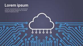 Base de données de nuage au-dessus de bannière de concept de système de Chip Moterboard Background Data Center d'ordinateur Image stock