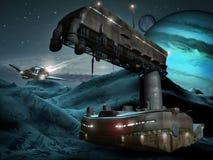 Base de l'espace sur la planète de glace Photographie stock libre de droits