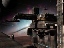Base de l'espace sur la planète lointaine Photo libre de droits